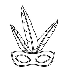 Carnival mask with feathers icon outline style vector