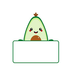 cartoon avocado character holding blank card vector image
