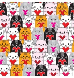 Cats with hearts in hands seamless pattern vector image
