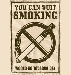 cigarette in crossed out circle poster vector image
