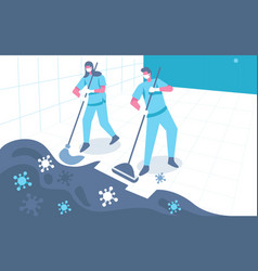 Cleaning up bacteria concept vector