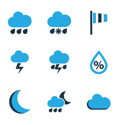 Climate colored icons set collection of lightning vector
