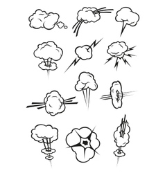 Cloud icons in cartoon comic book style vector
