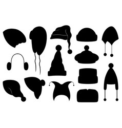 collection different winter hats vector image