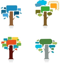 collection od four trees with speak trees vector image