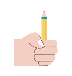Colorful hand with pencil school utensil to study vector