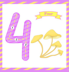 Cute children flashcard number one tracing with 4 vector