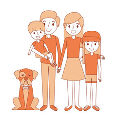 cute family dad mom little son and daughter their vector image