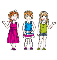 Cute happy little girls posing in stylish casual vector