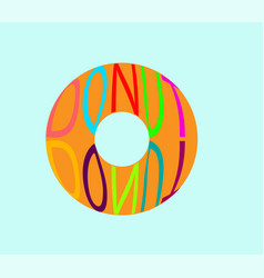 donut on a blue turquoise background with an vector image