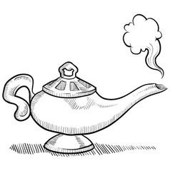 doodle genie lamp normal vector image vector image