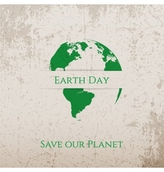 Earth Day green Print on Concrete Banner Template vector