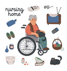 Elderly woman in wheelchair and nursing home items vector