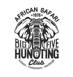 elephant t-shirt print african safari hunting vector image