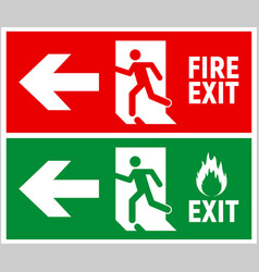 Emergency fire exit sign evacuation fire escape vector
