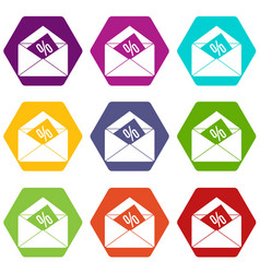 envelope with percentage icon set color hexahedron vector image
