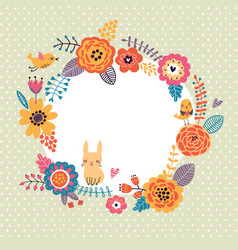 Floral background wreath frame with cute birds an vector