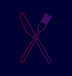 fork and knife sign line icon with vector image