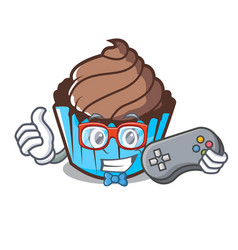 gamer chocolate cupcake mascot cartoon vector image