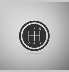 Gear shifter on grey background transmission icon vector