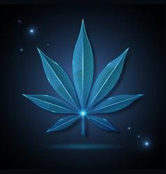 glass transparent medical cannabis leaf vector image