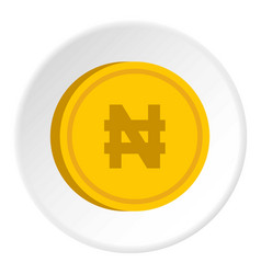 Gold coin with nairas sign icon circle vector