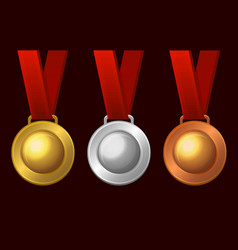 gold silver and bronze medal icon set vector image