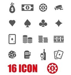 grey casino icon set vector image