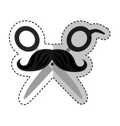 hairdresser scissors with mustache isolated icon vector image