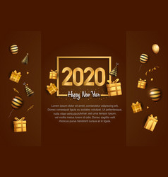 Happy new year 2020 golden number in square vector