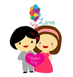 Happy valentines couple sweet love vector