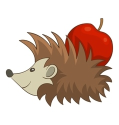 Hedgehog with apple icon cartoon style vector