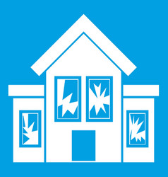 House with broken windows icon white vector