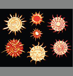 image a set decorative drawn stars vector image
