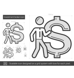 Investment broker line icon vector