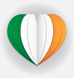 Ireland flag paper cut heart independence day vector