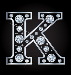 k letter made with diamonds isolated on vector image
