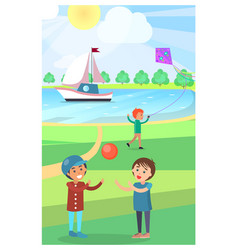 Kids play with ball in public park poster vector