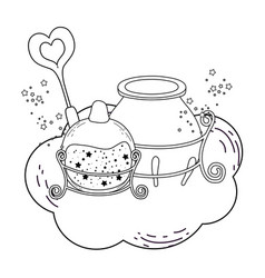 magic witch cauldron with potion bottle and wand vector image