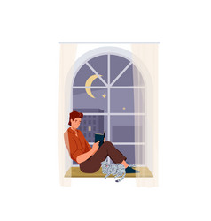 man reading book background male character vector image