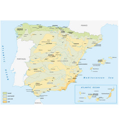 Map wet and dry areas in spain vector
