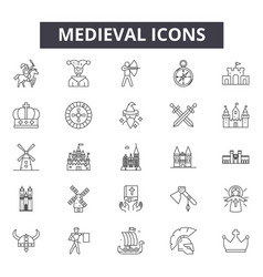 medieval line icons signs set outline vector image
