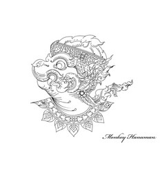 Monkey hanuman art pattern vector