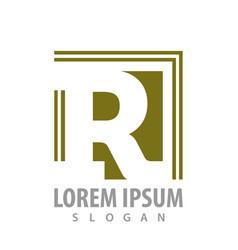 monogram square letter r concept design symbol vector image