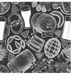 oktoberfest seamless pattern hand drawn on chalk vector image