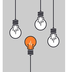 Orange light bulb different among others vector