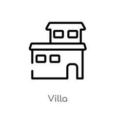 Outline villa icon isolated black simple line vector