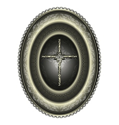 Oval silver medallion with cross vector