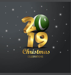 Pakistan flag 2019 merry christmas typography new vector
