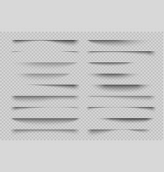 Paper shadow effect transparent page divider vector